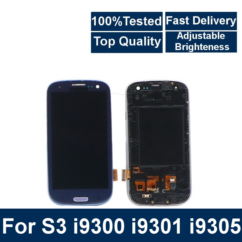 For Samsung Galaxy S3 I9300 I9301 I9301i I9305  Phone LCD Display Touch Screen Digitizer Assembly With Brightness Control