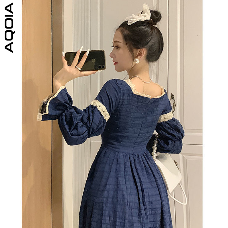 2021 Spring Lace Women Dress Lolita Style Sweeter Long Sleeve Square Collar Dresses Latern Sleever Cute Cosplay Ladies Dress-2