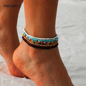 IngeSight.Z 7Pcs/Set Rainbow Beaded Anklet Bracelet for Women Adjustable Colorful Anklets Barefoot Sandals On Foot Ankle Jewelry 1