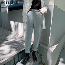 BGTEEVER Spring Autumn Women Corduroy Pants Fashion High Waist Female Straight Pants Streetwear Women Trousers Capris 2020 cheap Polyester COTTON Full Length LY3865 Solid Casual Flat REGULAR Button Fly Pockets winter woolen pant
