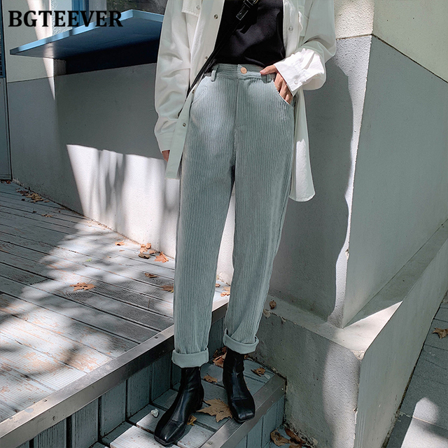 BGTEEVER Spring Autumn Women Corduroy Pants Fashion High Waist Female Straight Pants Streetwear Women Trousers Capris 2019