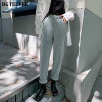 BGTEEVER printemps automne femmes pantalons en velours côtelé mode taille haute femme pantalon droit Streetwear femmes pantalon Capris 2020