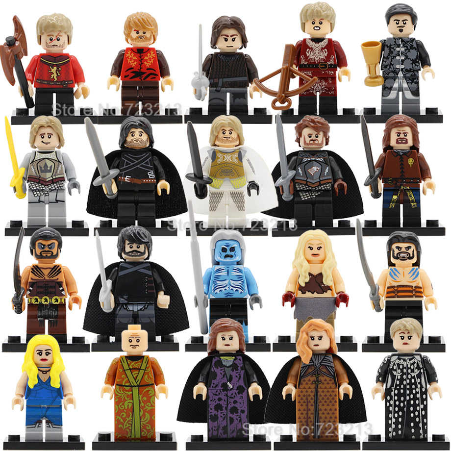 Hot 20pcs/lot Game of Thrones Jon Snow Figure Set Tyrion Cersei Jaime Lannister Baelish Sansa Robb Stark Building Block Toys