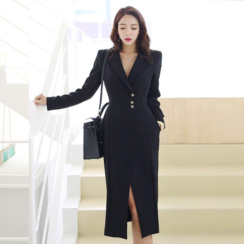 Nouveauté élégante longue robe formelle crantée mode femmes travail style haute qualité parti simple tendance bureau dame robe crayon