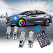 цена на T10 W5W 501 5050 6Smd Car Led Bulb with Remote Control Multicolor Interior Dome Wedge Reading Light Strobe Lamp Side Light Bulbs