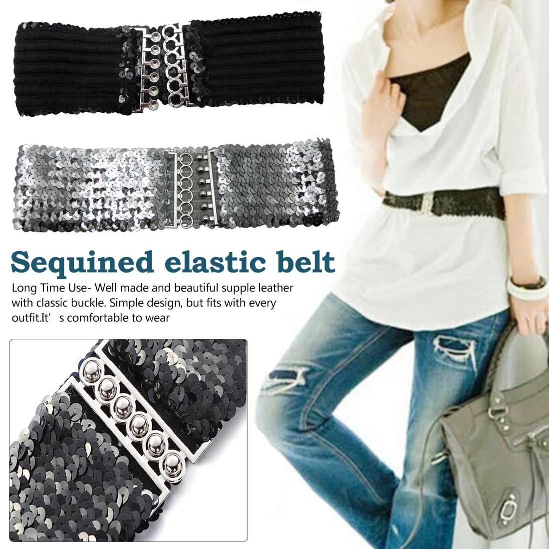 Vintage Manual Sequins Women Waist Belt  Buckle Waistband Black Elastic Casual Stretch Belt