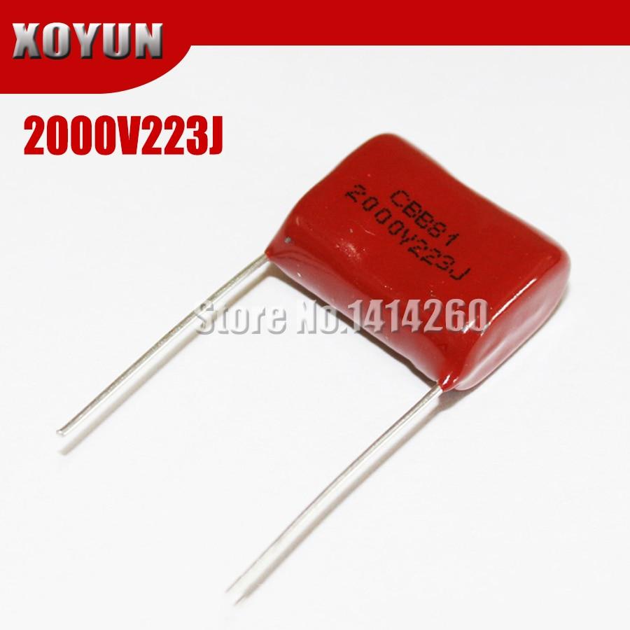 10PCS 2000V223J 2KV 22NF 0.022UFCBB Pitch 20mm 2000V 223J CBB Polypropylene Film Capacitor