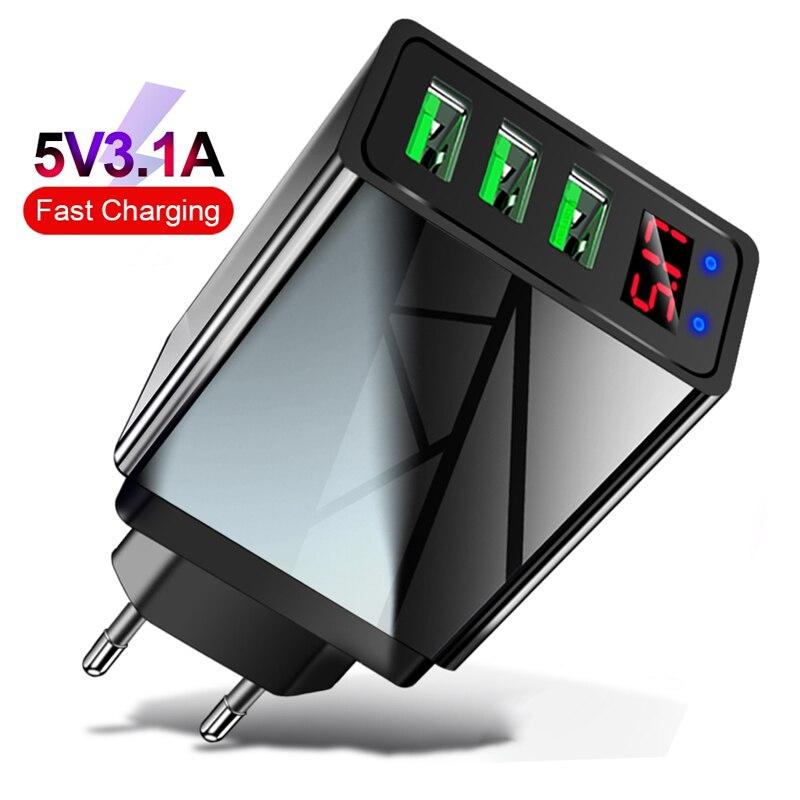 Cargador USB pantalla LED Universal 3.1A carga rápida 3 puertos cargador de teléfono móvil inteligente para iphone Samsung Xiaomi cargador de tableta Base de carga inalámbrica Baseus 15W Qi soporte de carga rápida para teléfono almohadilla de carga inalámbrica multifuncional para iPhone 11 Pro Samsung