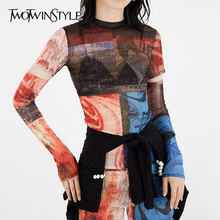 TWOTWINSTYLE Elegant Print T Shirt Women O Neck Long Sleeve Slim Asymmetrical Ho
