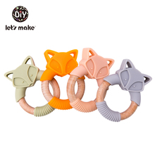 Baby Teether Silicone Toy Wooden Cartoon Fox Teething Beech Wood Ring BPA-Free Newborn Rattle Toys Oral Nursing For Baby Product