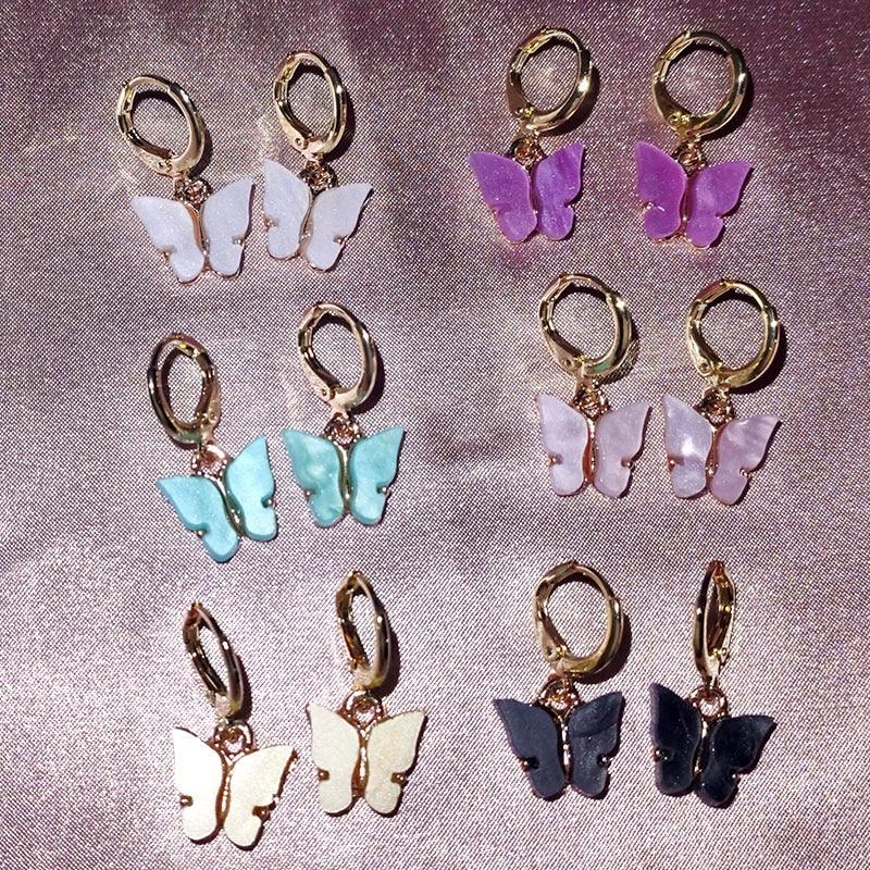 Flatfoosie New Fashion Women Butterfly Drop Earrings Animal Sweet Colorful Acrylic Earrings 2019 Statement Girls Party Jewelry