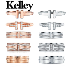 Kelley high quality original Tiff 925 sterling silver ring double T style brand design ladies fashion luxury jewelry party gift
