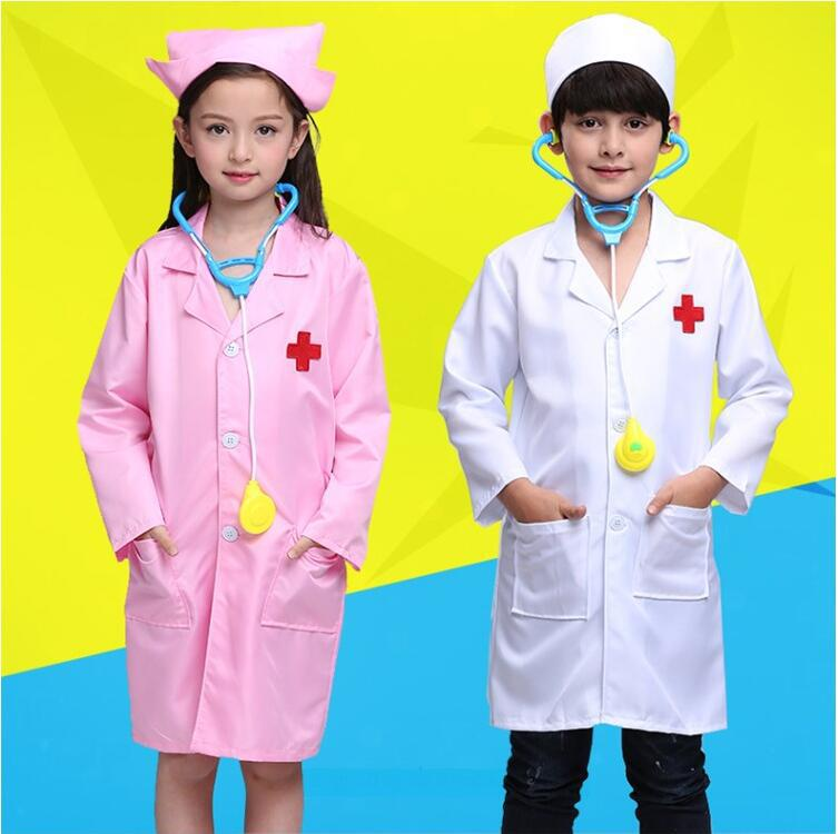 Children Small Doctor Nurse Clothing Kindergarten Business Play Performance Costume Play House White Coat Costume