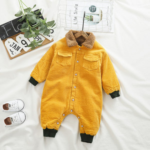 Image 4 - SINGBAIL Baby Rompers Winter Baby Boys Jumpsuits Corduroy Infant Girls Rompers Winter Baby Outfit Thicken Lining Baby Rompers Y0
