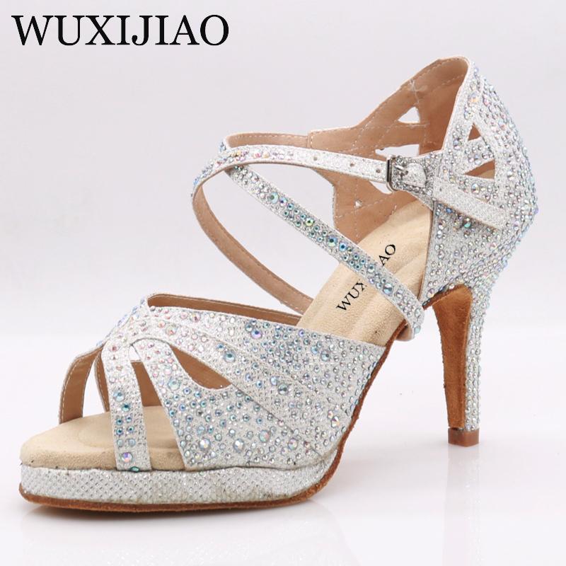 WUXIJIAO Women's black suede sparkling rhinestone dance shoes Latin dance shoes ballroom dance shoes 10 cm tango dance shoes