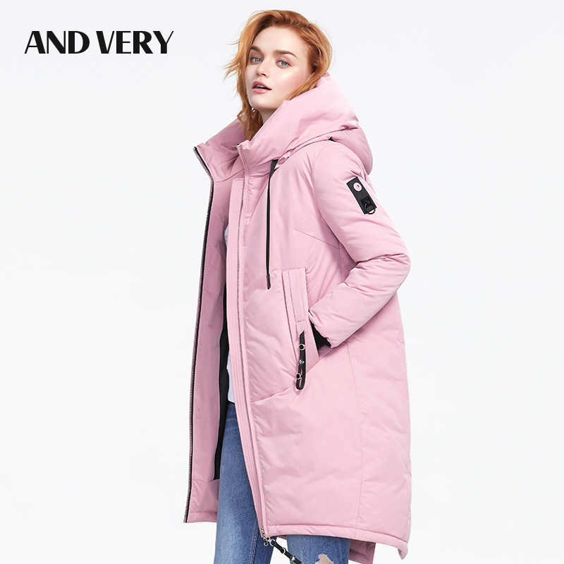 ANDVERY 2019 Winter new arrival women down jacket with a hood top thick cotton color fashionable long women coat for winter 9832