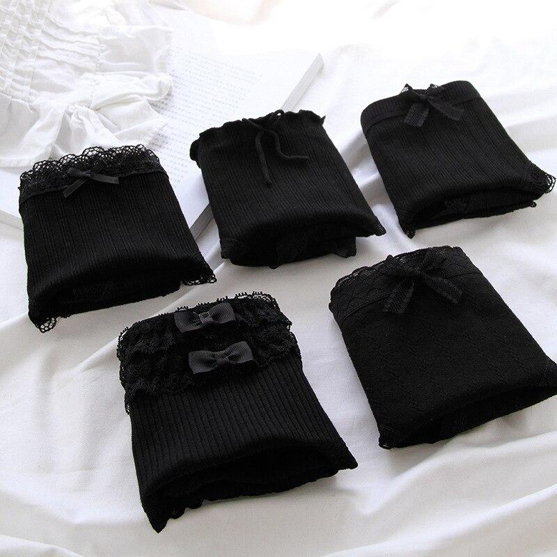 Черные женские трусики из чистого хлопка, кружевные сексуальные трусики с бантом, женские удобные, мягкие дышащие трусики со средней талией