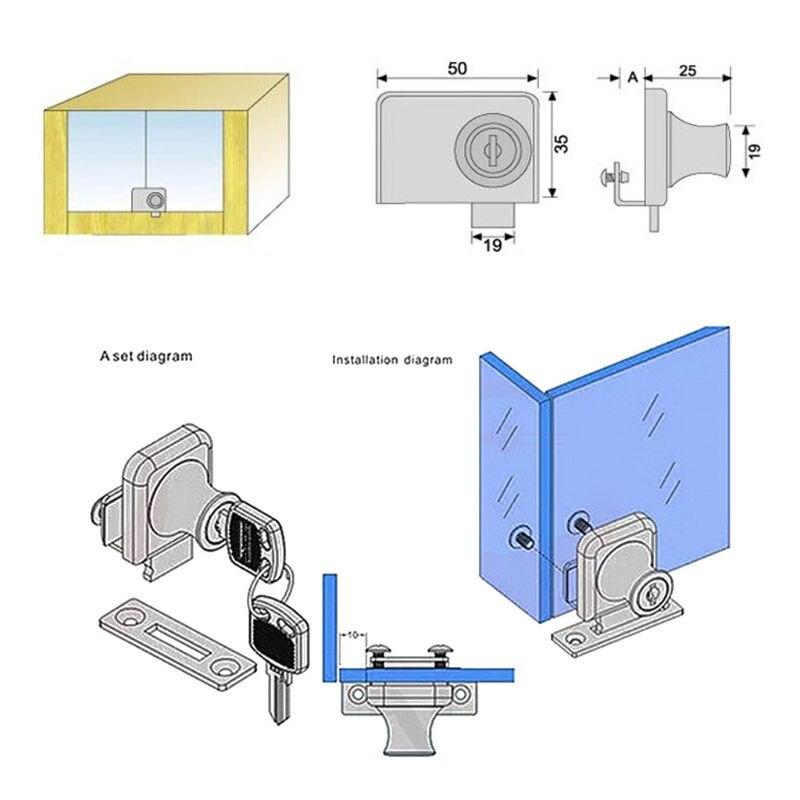 Glass Door Double Latch Lock Security Showcase Lock For 5-12mm Glass Door