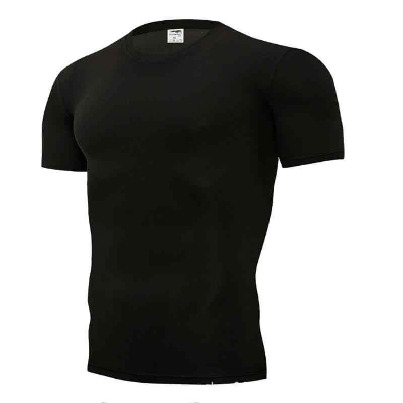 2019 รองเท้าวิ่งผู้ชายเสื้อยืด Quick DRY Breathable กีฬาฟิตเนส GYM การฝึกอบรมเสื้อผ้า Solid เสื้อกีฬากล้ามเนื้อ Tops Tees