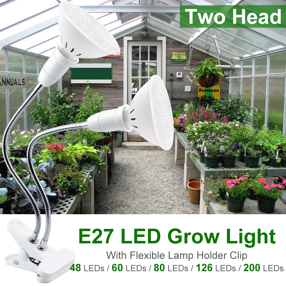 Grow LED Light Plant Lamp Full Spectrum LED Grow Lights Flower Growing Lamp E27 Holder Clip For Seed Hydro Grow Tent Indoor