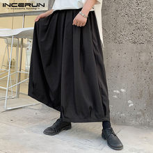 INCERUN 2021 solide hommes large jambe pantalon taille élastique coton Joggers danse pantalon ample unisexe plissé pantalon hommes Streetwear 5XL
