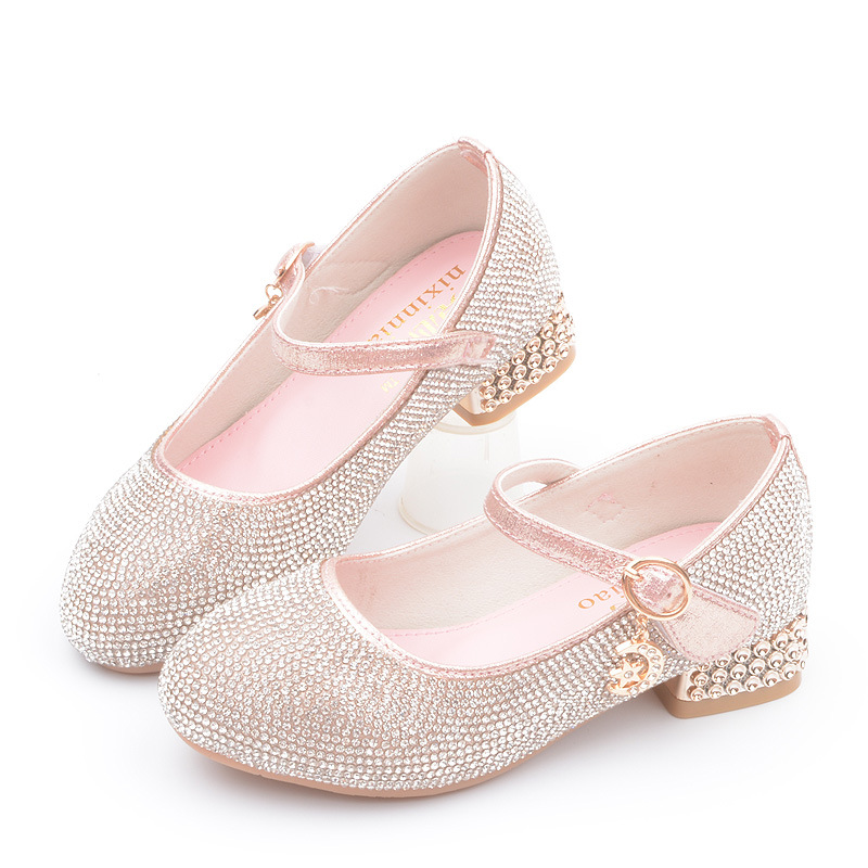 2019 New Princess Rhinestone High Heel Leather Shoes Big Kids Little Girls Dress Party Wedding Children Shoes 4 5 6 7 8 9 10 11 12 13 Year Old