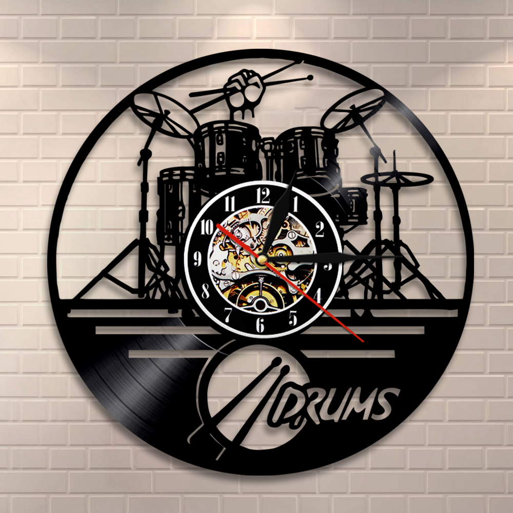 Drummers Personalized Drum Wall Clock Music Instrument Drum Kit Wall Decor Vinyl Record Wall Clock Music Lover Drummers Gift