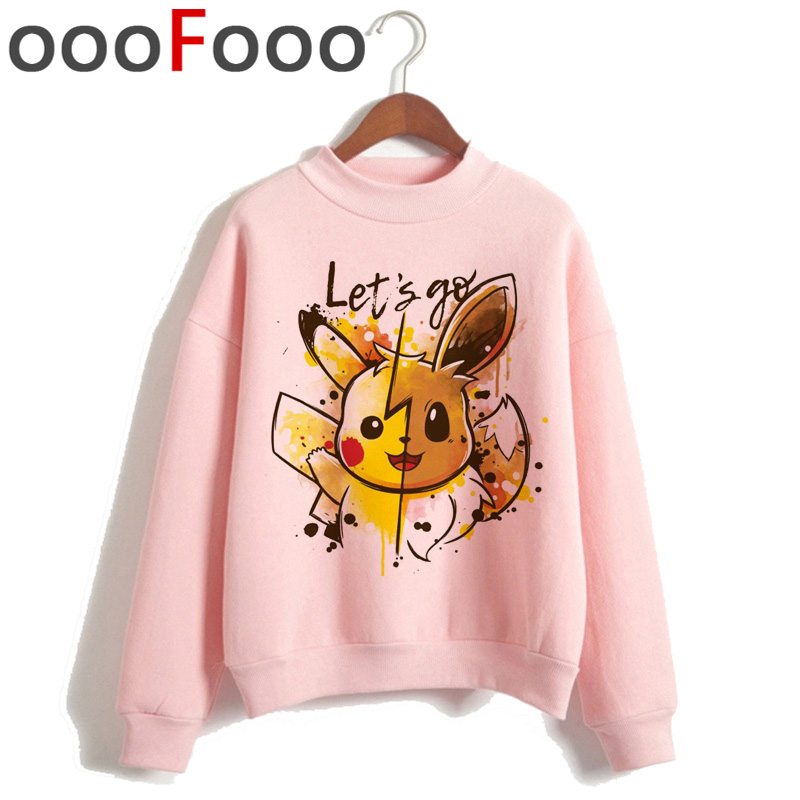 New Pokemon Go Kawaii Harajuku Warm Hoodies Women Pikachu Cute Japanese Anime Ullzang Sweatshirts Funny Cartoon 90s Hoody Female