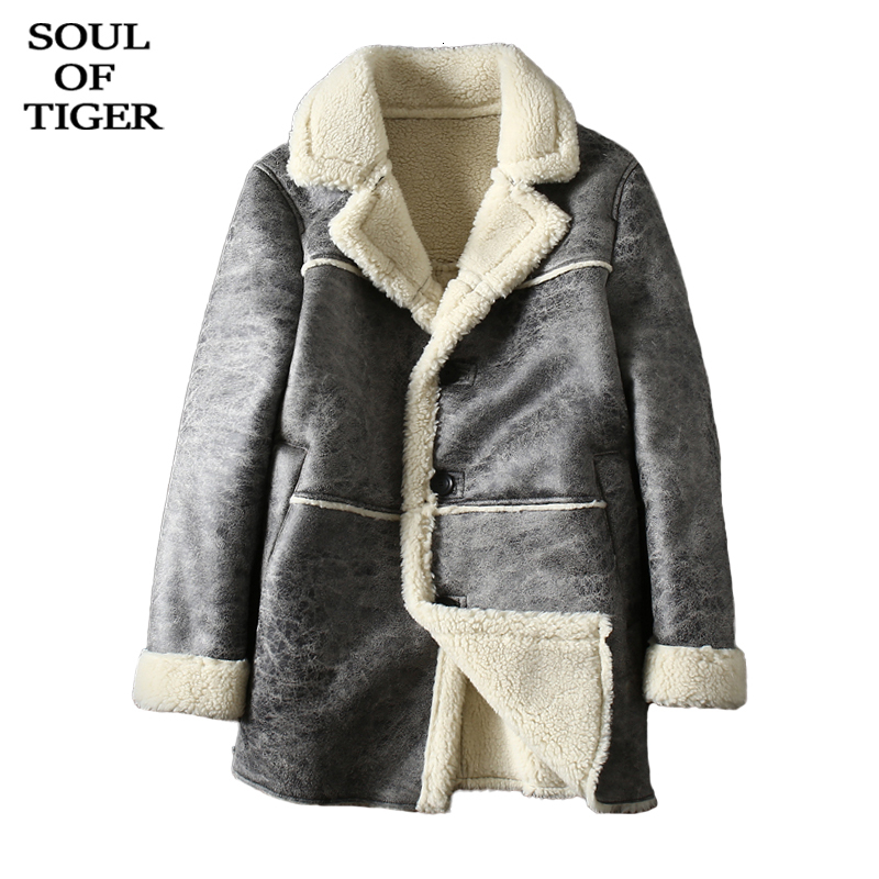 SOUL OF TIGER New 2019 Korean Brand Fashion Mens Luxury Leather Jackets Male Loose Suede Coats Winter Fur Warm Clothes Plus Size