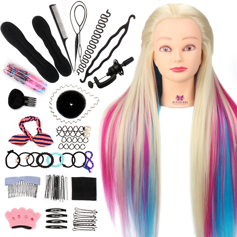 Neverland 28Inch Colorful Synthetic Hair Mannequin Head For Hairstyles Hairdressing Training Head Dummy Doll Clamp  Accessories