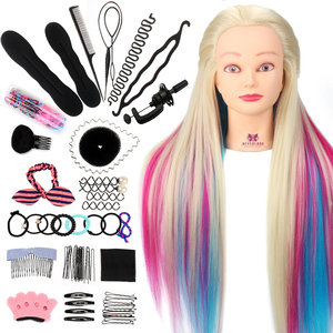 Neverland 28Inch Colorful Synthetic Hair Mannequin Head For Hairstyles Hairdressing Training Head Dummy Doll Clamp Accessories(China)