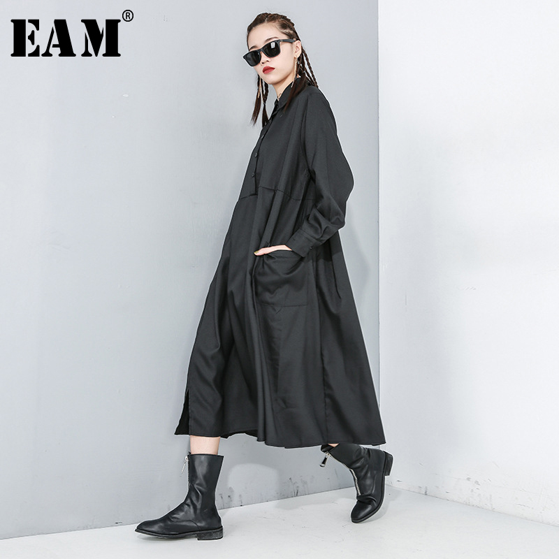 [EAM] Women Black Pleated Pocket Split Shirt Dress New Lapel Long Sleeve Loose Fit Fashion Tide Spring Autumn 2020 1R170