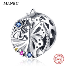 MANBU 925 sterling silver European charms fairy with Colored zircon fit diy bracelet making accessories beads for jewelry