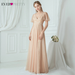 Elegant Blush Prom Dresses Ever Pretty EP00749BH Sequined Appliques A-Line Ruffles Sleeve Tulle Illusion Party Gowns Vestidos