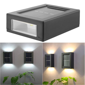 2PC Outdoor Solar Wall Lamp 2LED IP65 Waterproof Light Up Down Garden Decorative Street Lights Lighting