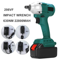 298VF 630N.M Torque Electric Cordless Impact Wrench Drill Socket W/ LED Light & Battery Rechargeable Power Tools multitool|Electric Wrenches| |  -