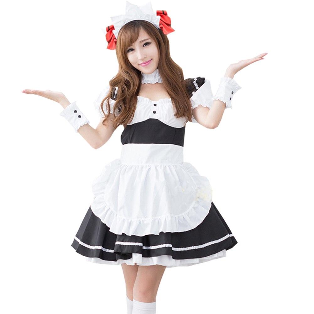 Brdwn DATE A LIVE Womens Tokisaki Kurumi Cosplay Costumes Apron Maid Dress