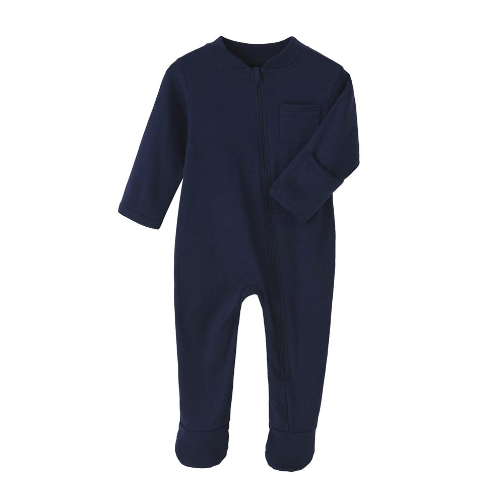 100% Cotton Newborn Baby Clothes Solid Color Jumpsuit Rompers Zipper Infant Boys Girls Spring Bottoming Shirt Jumpsuits Footed | Happy Baby Mama