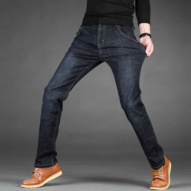 2019 MEN'S Jeans Spring And Autumn Thick-Straight-Cut Loose-Fit Jeans Men's Elasticity Large Size Men's Trousers