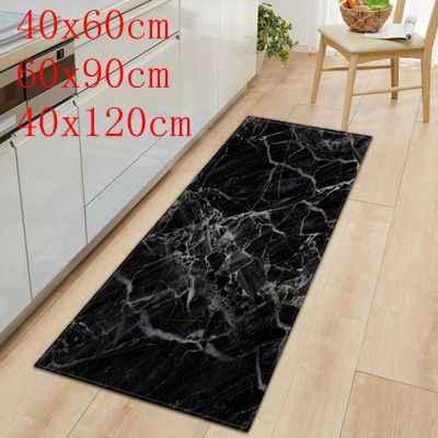1 pc tapete de cozinha antiderrapante bem-vindo capacho preto branco mármore impresso tapete de assoalho corredor portch tapetes de porta ao ar livre