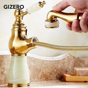 Гибкий Выдвижной кран для раковины с золотым полированным мраморным камнем, роскошный смеситель для кухонной раковины, кран для ванной ком...