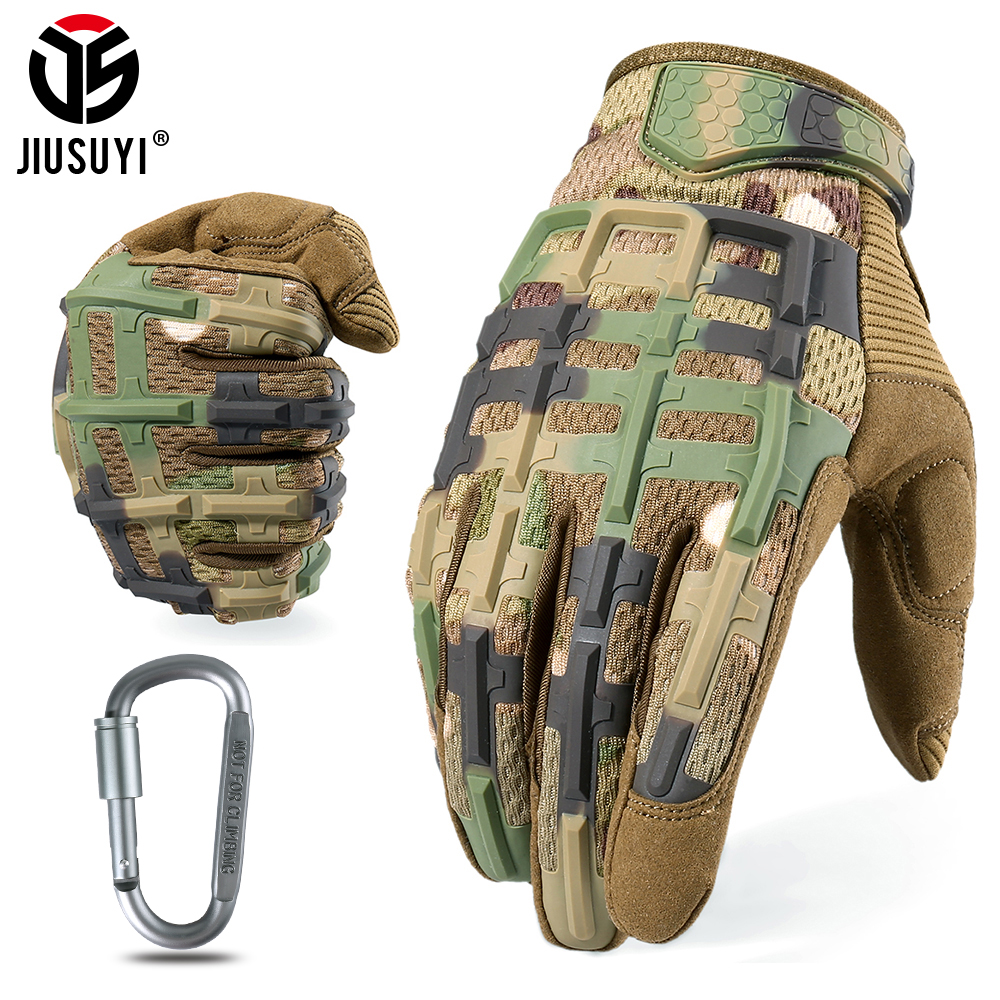 Tactical Multicam Camo Mittens Full Finger Glove Army Military Rubber Knuckle Anti-skip Airsoft Driving Bike Protective Gear Men