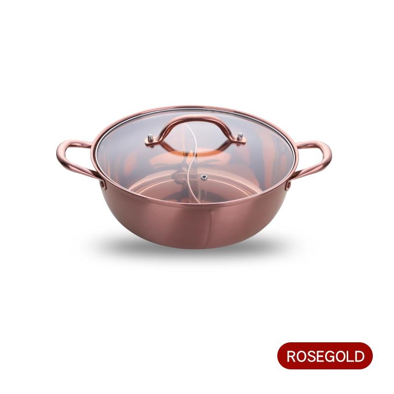 Горячий горшок из нержавеющей стали с двумя отделениями, кухонный горшок, кухонная утварь, однослойная совместимая суповая кастрюля, горшки для домашнего ресторана, инструменты - Цвет: Rosegold