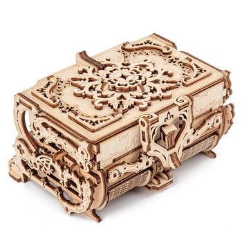 2020 new wooden 3D assembled creative DIY puzzle wooden mechanical transmission antique box model assembled toy gift