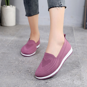 Women Casual Working Shoes Breathable Mesh Summer Knit Outdoor Slip-On Flats Laofers Non-slip Hiking Soft Mother Gift Shoes