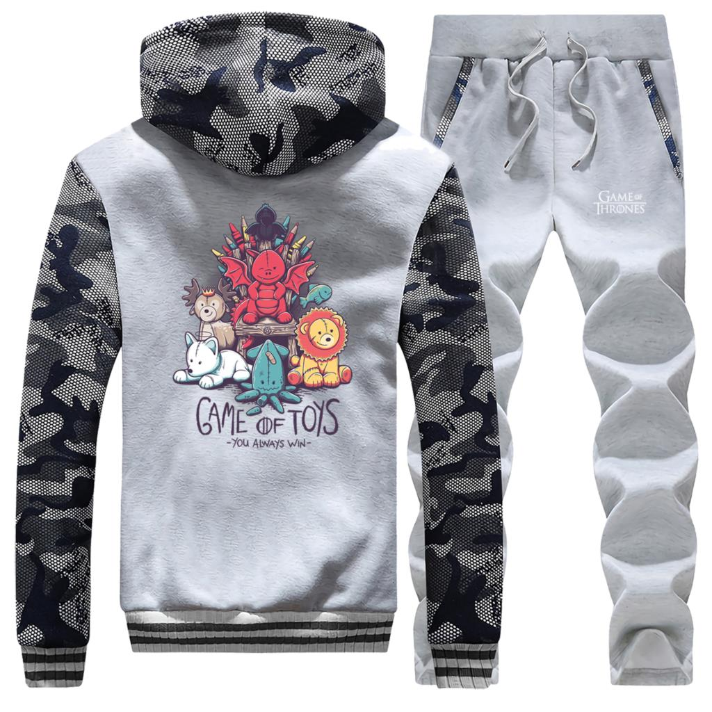 Game Of Thrones Male 2 Piece Sets New Print Game Of Toys Mens Tracksuit Winter Thick Hooded Jackets Sweatpants Men Zip Clothing