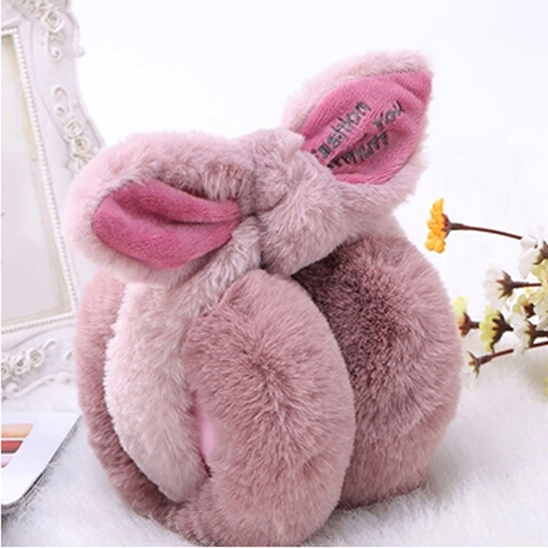 New Cute Rabbit Earmuffs Women Winter Warm Earmuffs Comfort Ear Warmers Gifts Cover Ladies Plush Ears Fur Earmuffs Warm