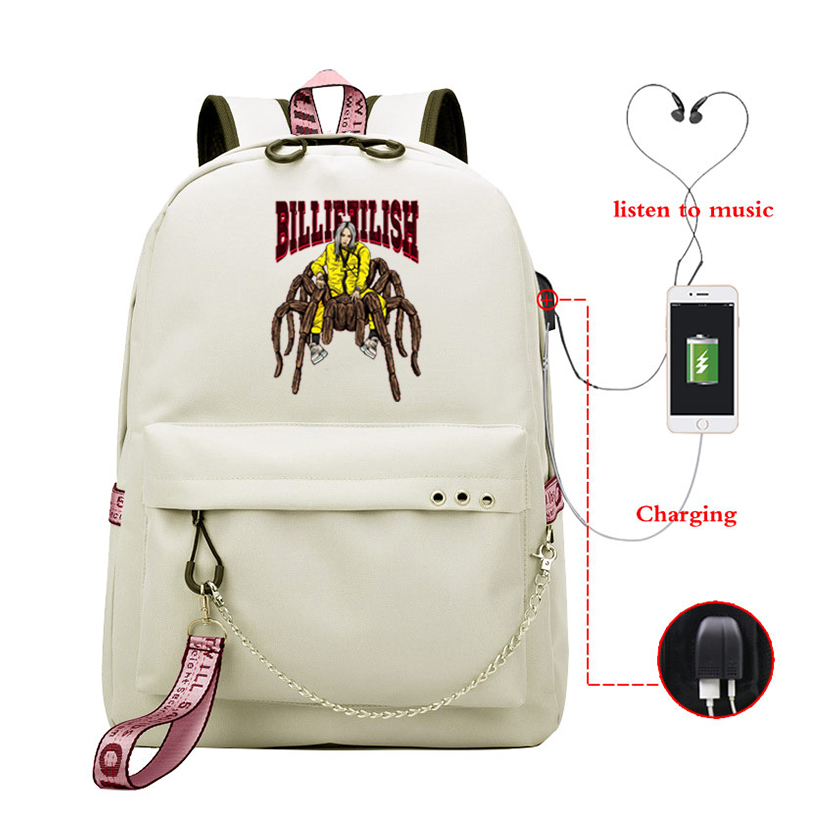 New Fashion Brand Billie Eilish School Bag Students Travel Bags Bookbag Billie Eilish Backpack Knapsacks Girls Usb Charging Bag