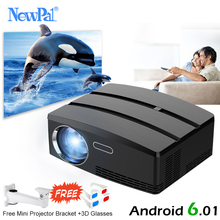 Newpal Projector 1200 Lumens LED Projector Home Theater Set in Android 4.4 WIFI Bluetooth Support Miracast Airplay AC3 Proyector стоимость
