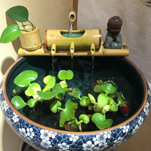 Bamboo Aquarium Water Recycling Feng Shui Decoration Tube Fountain Stone Trough Filter Office Desktop Furnishings